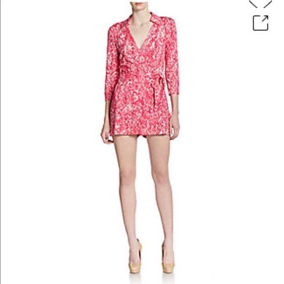 7481396218 Diane Von Furstenberg Other - Diane von Furstenberg Celeste Wrap Romper pink